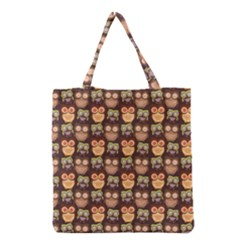 Eye Owl Line Brown Copy Grocery Tote Bag by AnjaniArt