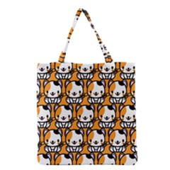 Face Cat Yellow Cute Grocery Tote Bag by AnjaniArt