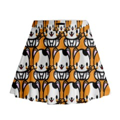 Face Cat Yellow Cute Mini Flare Skirt by AnjaniArt