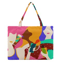 Girl Colorful Copy Medium Zipper Tote Bag by AnjaniArt