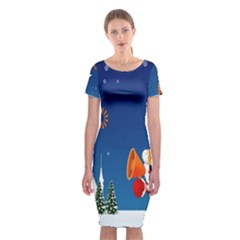 Santa Claus Reindeer Horn Castle Trees Christmas Holiday Classic Short Sleeve Midi Dress by AnjaniArt