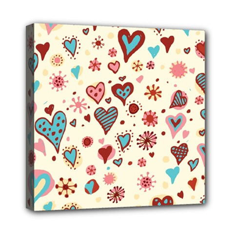 Valentine Heart Pink Love Mini Canvas 8  x 8  by AnjaniArt