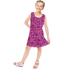 Brick1 Black Marble & Pink Marble (r) Kids  Tunic Dress