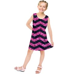 Chevron3 Black Marble & Pink Marble Kids  Tunic Dress by trendistuff