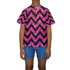 CHV9 BK-PK MARBLE (R) Kids  Short Sleeve Swimwear by trendistuff