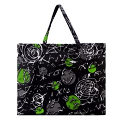 Green Mind Zipper Large Tote Bag by Valentinaart
