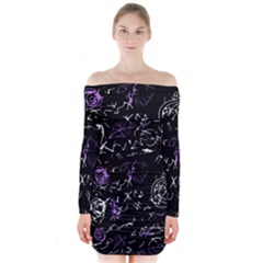 Abstract mind - purple Long Sleeve Off Shoulder Dress by Valentinaart