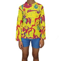 Yellow confusion Kids  Long Sleeve Swimwear by Valentinaart