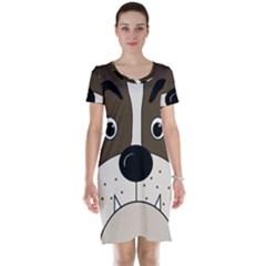Bulldog face Short Sleeve Nightdress by Valentinaart