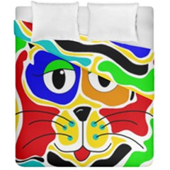 Colorful Cat Duvet Cover Double Side (california King Size) by Valentinaart