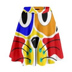 Colorful Cat High Waist Skirt by Valentinaart