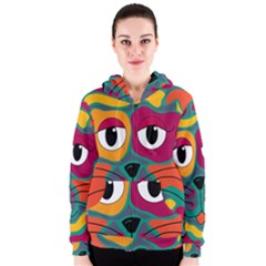 Colorful Cat 2  Women s Zipper Hoodie