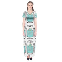 Beer Pattern Drawing Short Sleeve Maxi Dress