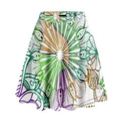 Zentangle Mix 1116c High Waist Skirt by MoreColorsinLife