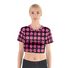Circles1 Black Marble & Pink Marble Cotton Crop Top by trendistuff