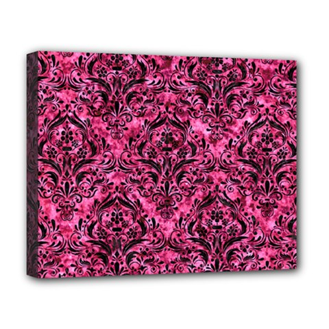 Damask1 Black Marble & Pink Marble (r) Deluxe Canvas 20  X 16  (stretched) by trendistuff