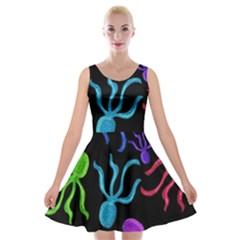 Colorful Octopuses Pattern Velvet Skater Dress