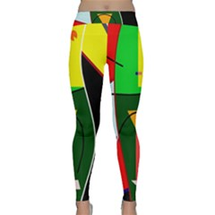 Abstract lady Classic Yoga Leggings by Valentinaart