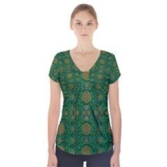 Magic Peacock Night Short Sleeve Front Detail Top by pepitasart