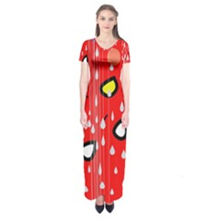 Rainy day - red Short Sleeve Maxi Dress