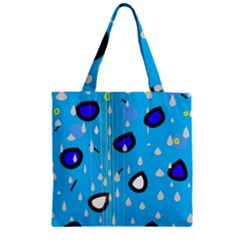 Rainy Day   Blue Zipper Grocery Tote Bag by Moma