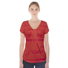 Writing Grace Short Sleeve Front Detail Top by MRTACPANS