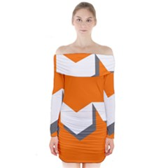 Cute Orange Chevron Long Sleeve Off Shoulder Dress by AnjaniArt