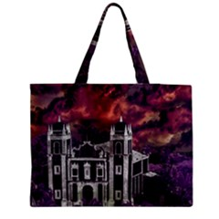 Fantasy Tropical Cityscape Aerial View Medium Tote Bag by dflcprints