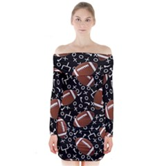 Football Player Long Sleeve Off Shoulder Dress by AnjaniArt