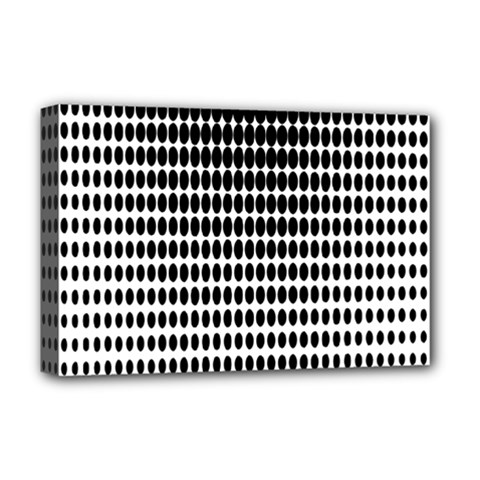 Dark Circles Halftone Black White Copy Deluxe Canvas 18  x 12   by AnjaniArt