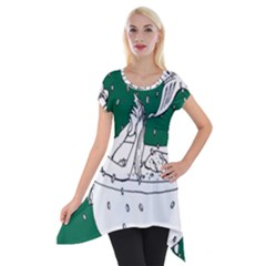 Green Mermaid Short Sleeve Side Drop Tunic by AnjaniArt