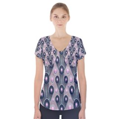 Background Abstract Pattern Grey Short Sleeve Front Detail Top