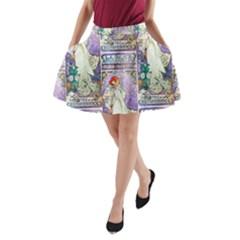 Alfons Mucha 1896 La Dame Aux Cam¨|lias A-Line Pocket Skirt