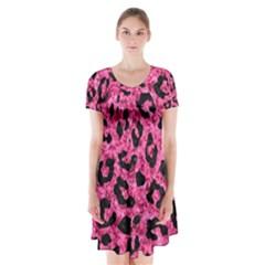 SKN5 BK-PK MARBLE Short Sleeve V-neck Flare Dress by trendistuff