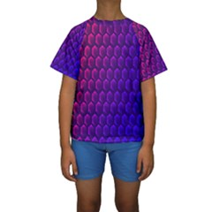 Outstanding Hexagon Blue Purple Kids  Short Sleeve Swimwear by AnjaniArt