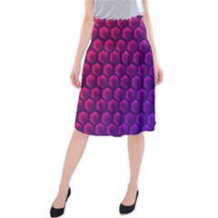 Outstanding Hexagon Blue Purple Midi Beach Skirt by AnjaniArt