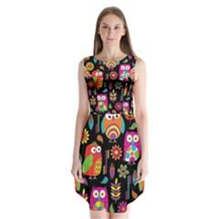 Ultra Soft Owl Sleeveless Chiffon Dress