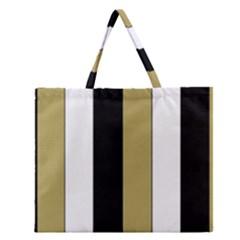 Black Brown Gold White Stripes Elegant Festive Stripe Pattern Zipper Large Tote Bag by yoursparklingshop