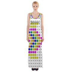 Colored Fish Maxi Thigh Split Dress by AnjaniArt
