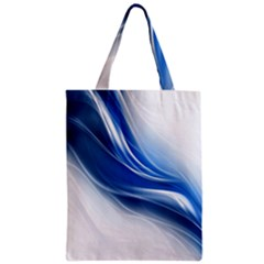 Light Waves Blue Zipper Classic Tote Bag by AnjaniArt