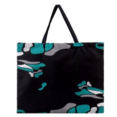 Cyan Creativity Zipper Large Tote Bag by Valentinaart