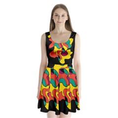 Colorful spot Split Back Mini Dress  by Valentinaart