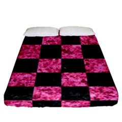Square1 Black Marble & Pink Marble Fitted Sheet (queen Size)