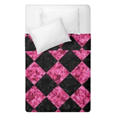 Square2 Black Marble & Pink Marble Duvet Cover Double Side (single Size) by trendistuff