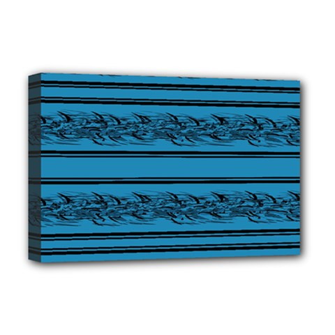Blue barbwire Deluxe Canvas 18  x 12   by Valentinaart