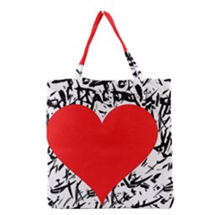 Red Valentine 2 Grocery Tote Bag by Valentinaart