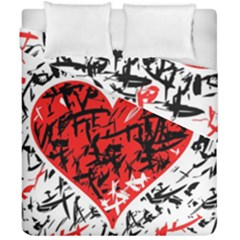 Red Hart   Graffiti Style Duvet Cover Double Side (california King Size) by Valentinaart