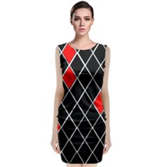 Elegant Black And White Red Diamonds Pattern Classic Sleeveless Midi Dress by yoursparklingshop