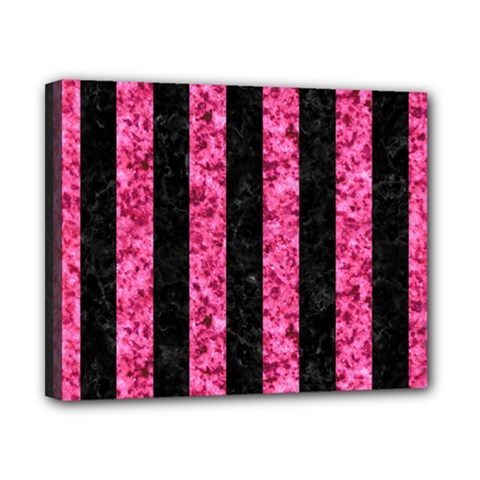 Stripes1 Black Marble & Pink Marble Canvas 10  X 8  (stretched) by trendistuff