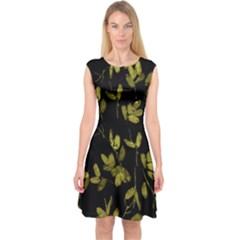 Dark Floral Print Capsleeve Midi Dress by dflcprintsclothing